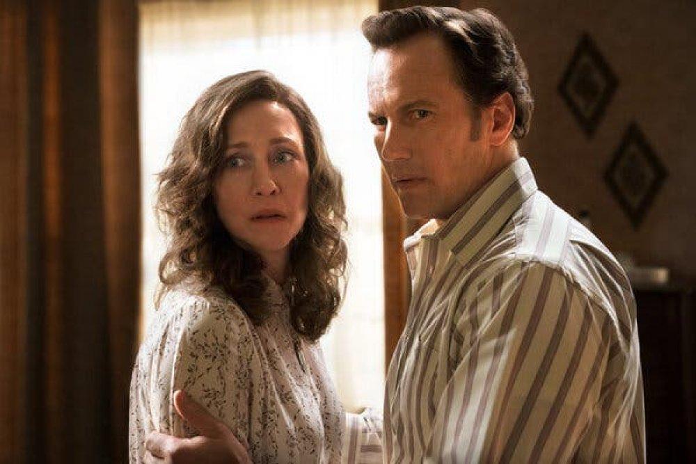 Vera Farmiga and Patrick Wilson as Lorraine and Ed Warren