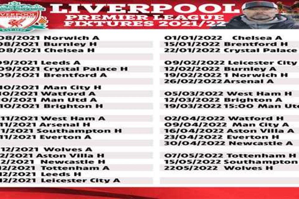 Complete Liverpool EPL Fixtures 2021-2022