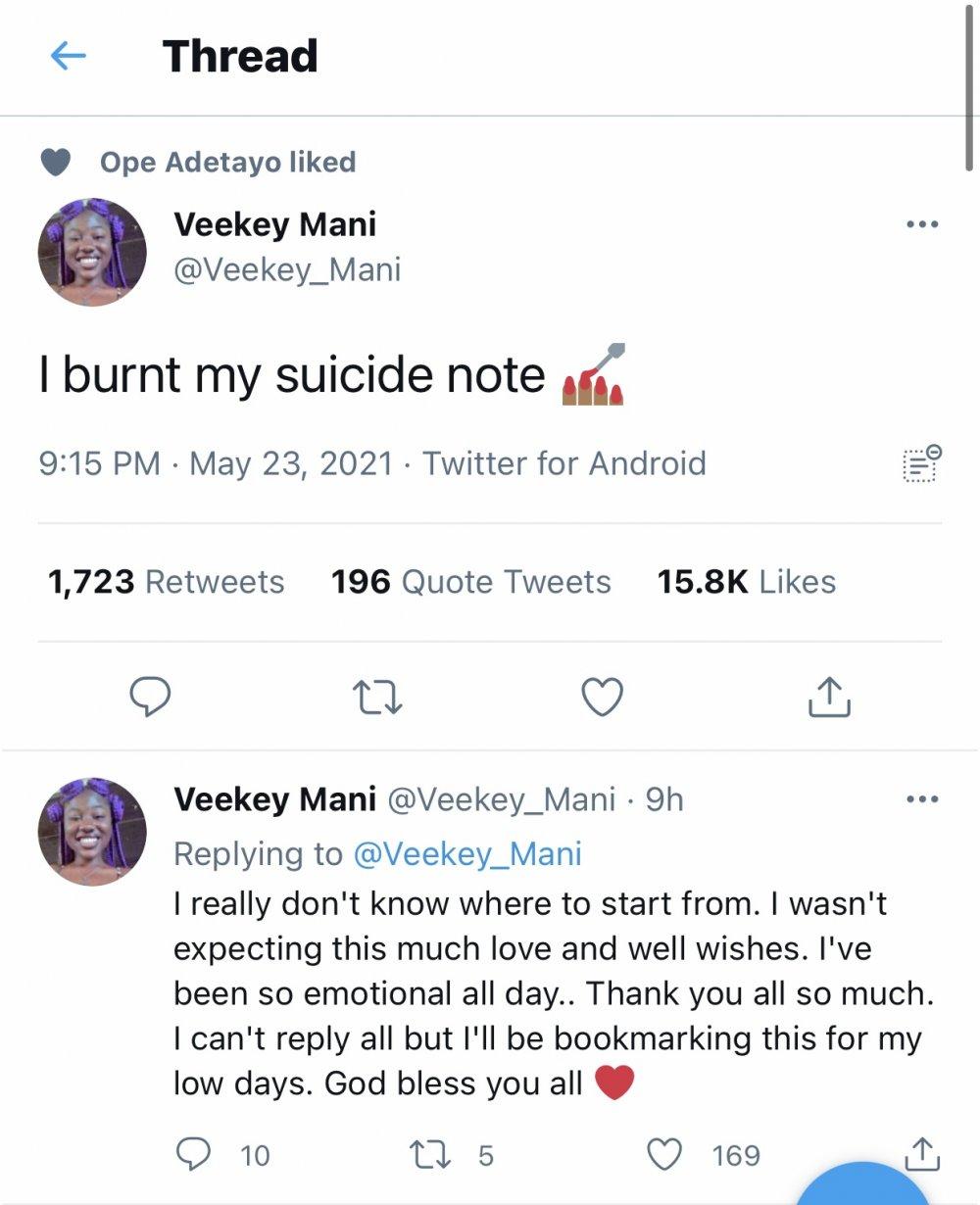 Suicide note burnt