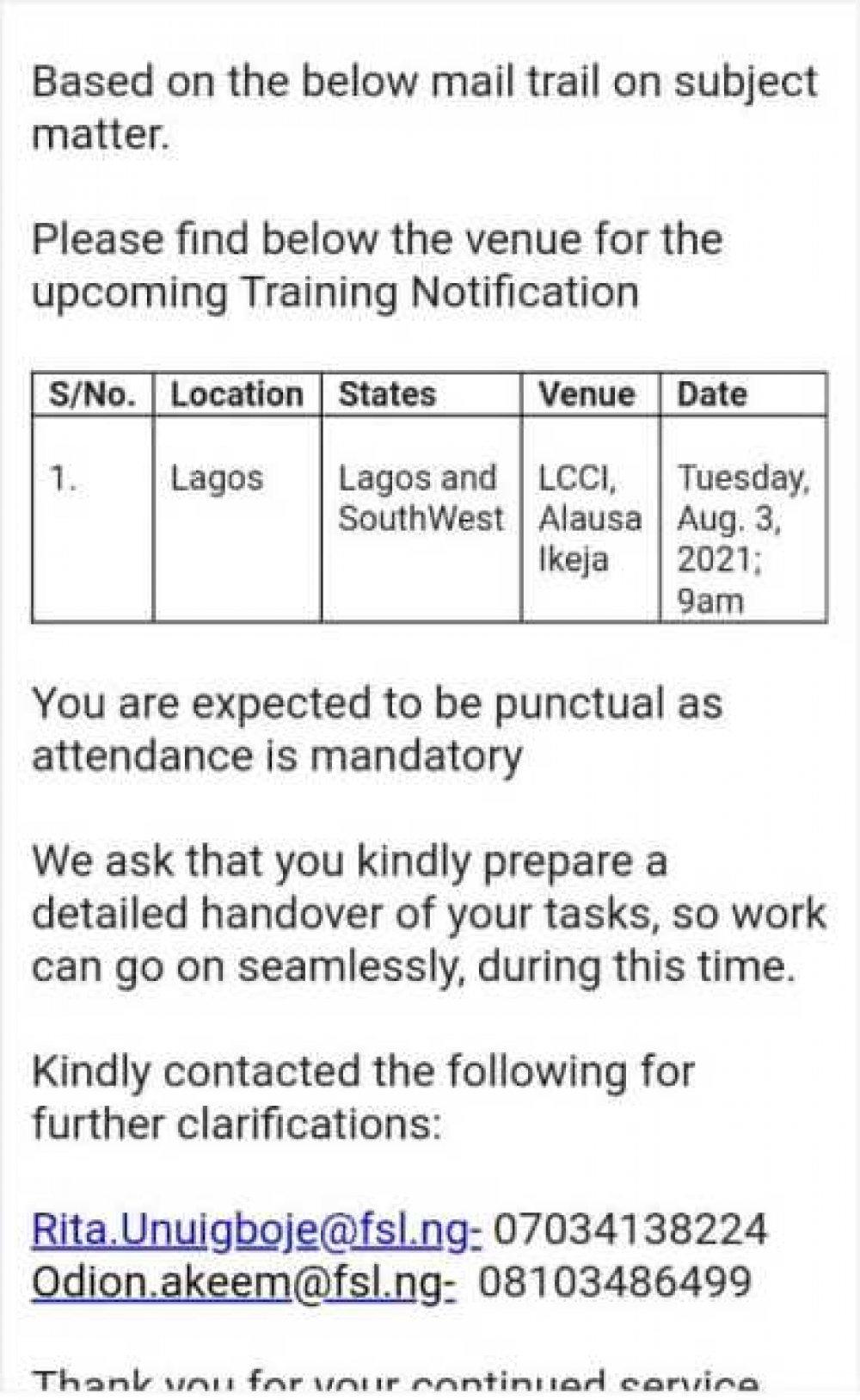 Venue Of Training By region