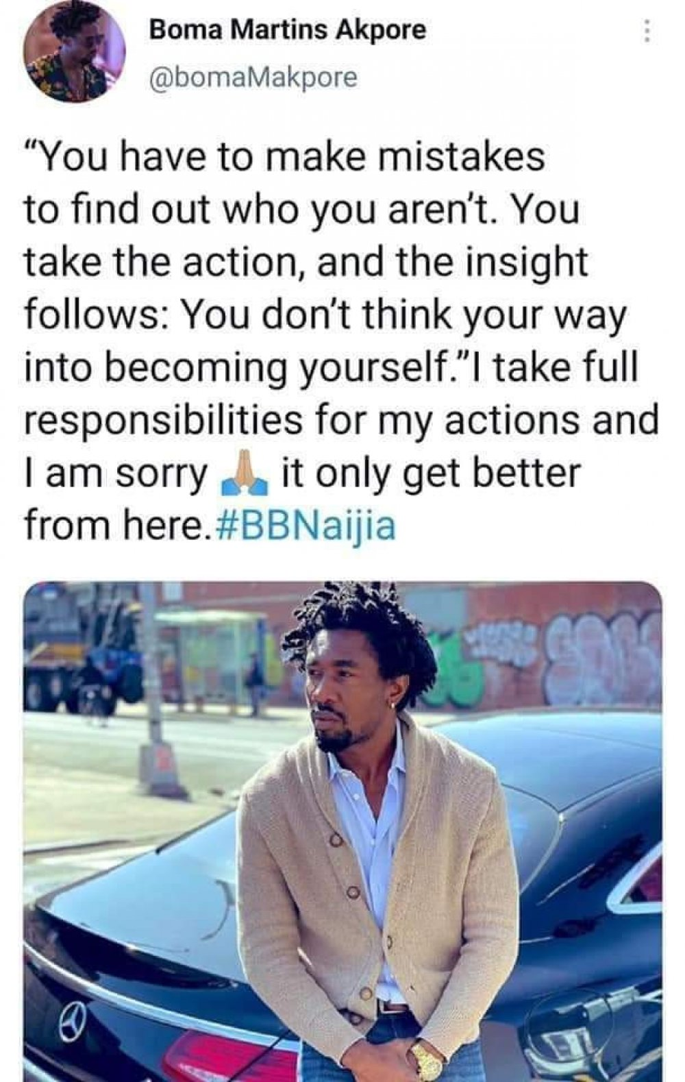 """BBNaija:""""I Take Full Responsibilities For My Actions And I'm Sorry""""- Boma Writes After Eviction"""