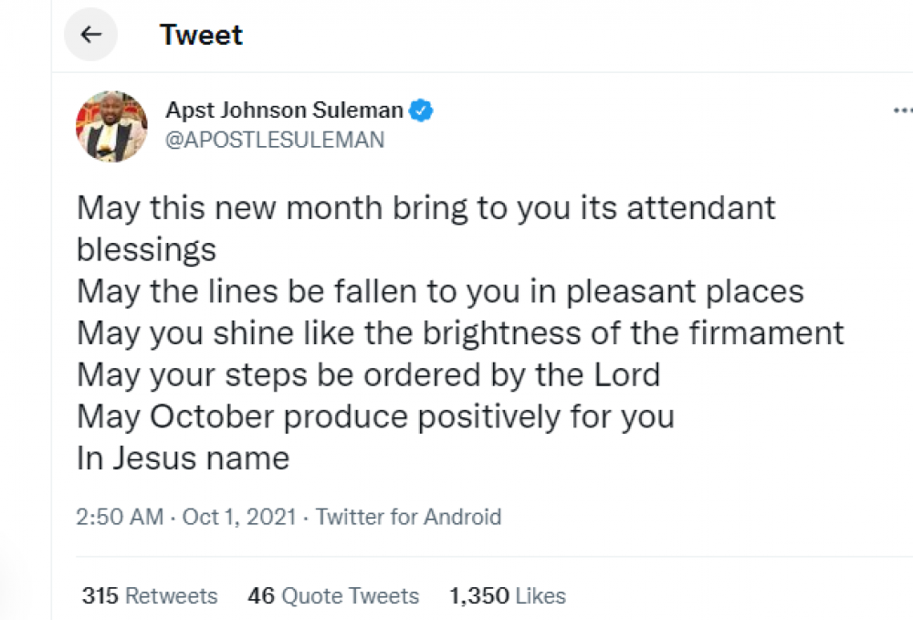 Apostle Suleman Releases Powerful October 2021 Prophecies